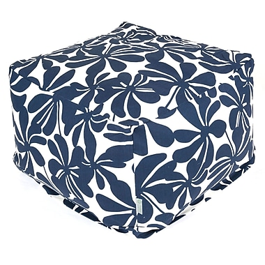 Majestic Home Goods Outdoor Polyester Plantation Large Ottoman, Navy Blue