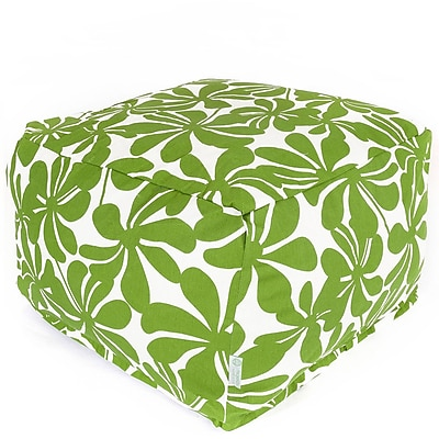 Majestic Home Goods Outdoor Polyester Plantation Large Ottoman, Sage