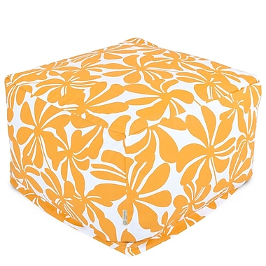Majestic Home Goods Outdoor Polyester Plantation Large Ottoman, Yellow