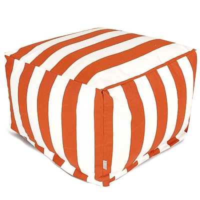 Majestic Home Goods Outdoor Polyester Vertical Stripe Large Ottoman, Burnt Orange