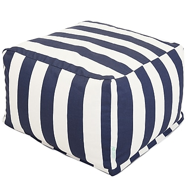 Majestic Home Goods Outdoor Polyester Vertical Stripe Large Ottoman, Navy Blue