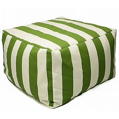 Majestic Home Goods Outdoor Polyester Vertical Stripe Large Ottoman, Sage