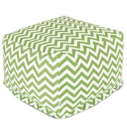 Majestic Home Goods Outdoor Polyester Chevron Large Ottoman, Sage