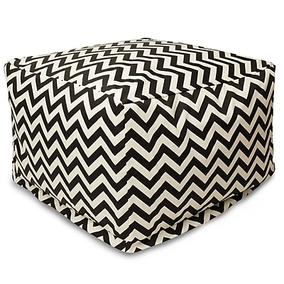 Majestic Home Goods Outdoor Polyester Chevron Large Ottoman, Black