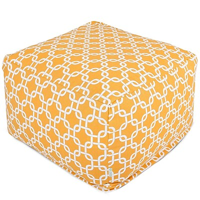 Majestic Home Goods Outdoor Polyester Links Large Ottoman, Yellow