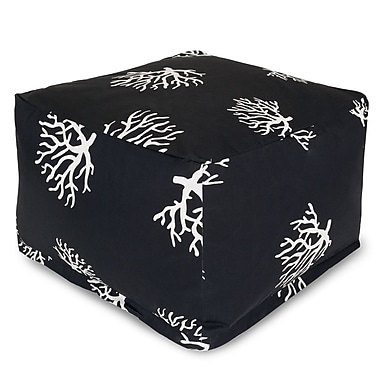 Majestic Home Goods Outdoor Polyester Coral Large Ottoman, Black