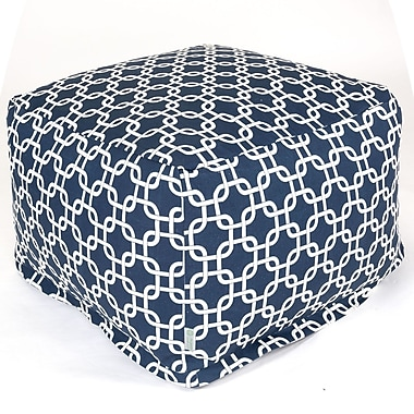 Majestic Home Goods Outdoor Polyester Links Large Ottoman, Navy Blue