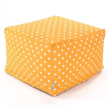 Majestic Home Goods Outdoor Polyester Ikat Dot Large Ottoman, Citrus