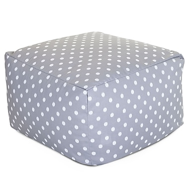 Majestic Home Goods Outdoor Polyester Ikat Dot Large Ottoman, Gray
