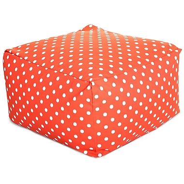 Majestic Home Goods Outdoor Polyester Ikat Dot Large Ottoman, Orange