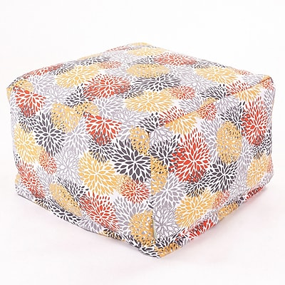 Majestic Home Goods Outdoor Polyester Blooms Large Ottoman, Citrus