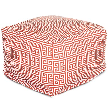 Majestic Home Goods Outdoor Polyester Towers Large Ottoman, Orange