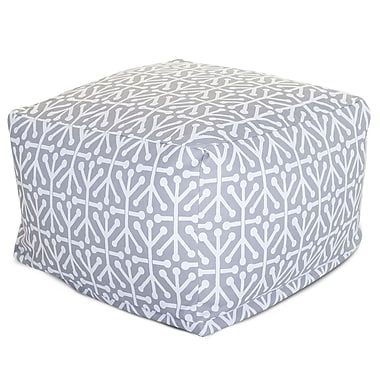 Majestic Home Goods Outdoor Polyester Aruba Large Ottoman, Gray