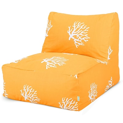 Majestic Home Goods Outdoor Polyester Coral Bean Bag Chair Lounger, Yellow