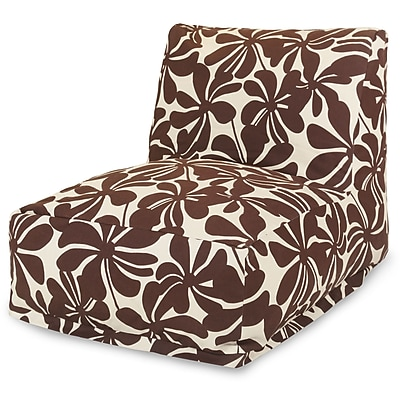 Majestic Home Goods Outdoor Polyester Plantation Bean Bag Chair Lounger, Chocolate