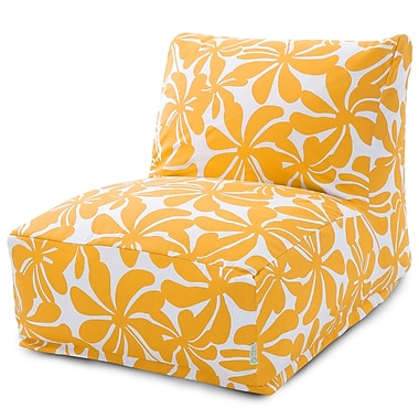Majestic Home Goods Outdoor Polyester Plantation Bean Bag Chair Lounger, Yellow