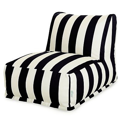 Majestic Home Goods Outdoor Polyester Vertical Stripe Bean Bag Chair Lounger, Black
