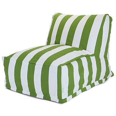 Majestic Home Goods Outdoor Polyester Vertical Stripe Bean Bag Chair Lounger, Sage