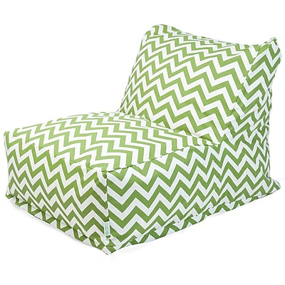 Majestic Home Goods Outdoor Polyester Chevron Bean Bag Chair Lounger, Sage