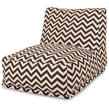 Majestic Home Goods Outdoor Polyester Chevron Bean Bag Chair Lounger, Chocolate