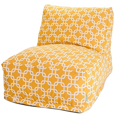 Majestic Home Goods Outdoor Polyester Links Bean Bag Chair Lounger, Yellow
