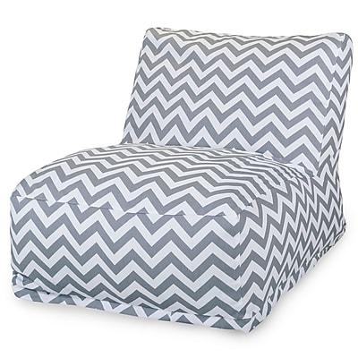 Majestic Home Goods Outdoor Polyester Chevron Bean Bag Chair Lounger, Gray