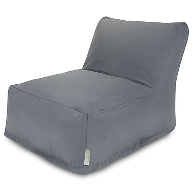 Majestic Home Goods Outdoor Polyester Solid Bean Bag Chair Lounger, Gray