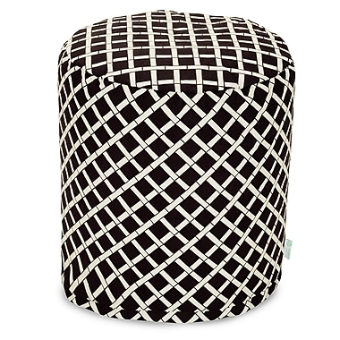 Majestic Home Goods Outdoor Polyester Bamboo Small Pouf Ottoman, Black