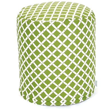 Majestic Home Goods Outdoor Polyester Bamboo Small Pouf Ottoman, Sage