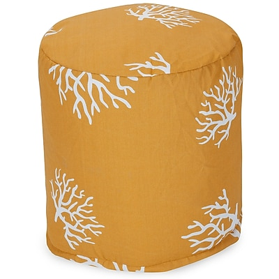 Majestic Home Goods Outdoor Polyester Coral Small Pouf Ottoman, Yellow