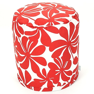 Majestic Home Goods Outdoor Polyester Plantation Small Pouf Ottoman, Red