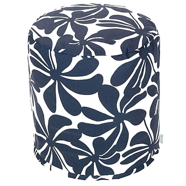 Majestic Home Goods Outdoor Polyester Plantation Small Pouf Ottoman, Navy Blue
