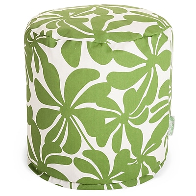 Majestic Home Goods Outdoor Polyester Plantation Small Pouf Ottoman, Sage