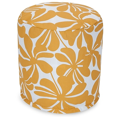 Majestic Home Goods Outdoor Polyester Plantation Small Pouf Ottoman, Yellow
