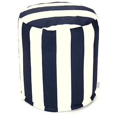 Majestic Home Goods Outdoor Polyester Vertical Stripe Small Pouf Ottoman, Navy Blue