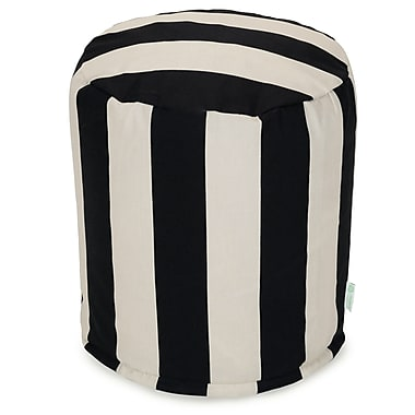 Majestic Home Goods Outdoor Polyester Vertical Stripe Small Pouf Ottomans