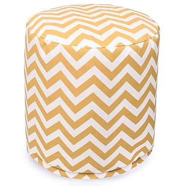 Majestic Home Goods Outdoor Polyester Chevron Small Pouf Ottoman, Yellow