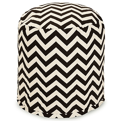 Majestic Home Goods Outdoor Polyester Chevron Small Pouf Ottoman, Black
