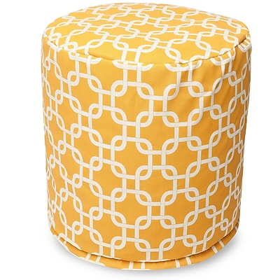 Majestic Home Goods Outdoor Polyester Links Small Pouf Ottoman, Yellow