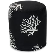 Majestic Home Goods Outdoor Polyester Coral Small Pouf Ottomans