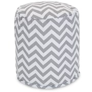 Majestic Home Goods Outdoor Polyester Chevron Small Pouf Ottoman, Gray