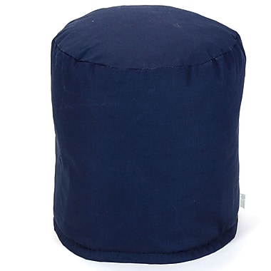 Majestic Home Goods Outdoor Polyester Solid Small Pouf Ottoman, Navy Blue