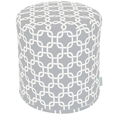 Majestic Home Goods Outdoor Polyester Links Small Pouf Ottoman, Gray