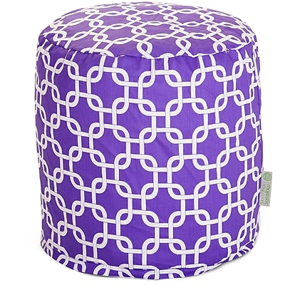 Majestic Home Goods Indoor Poly/Cotton Twill Links Small Pouf, Purple/White