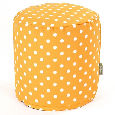 Majestic Home Goods Outdoor Polyester Ikat Dot Small Pouf Ottoman, Citrus