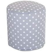 Majestic Home Goods Outdoor Polyester Ikat Dot Small Pouf Ottoman, Gray