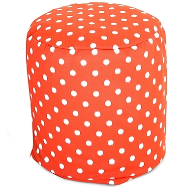 Majestic Home Goods Outdoor Polyester Ikat Dot Small Pouf Ottoman, Orange