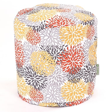 Majestic Home Goods Outdoor Polyester Blooms Small Pouf Ottoman, Citrus