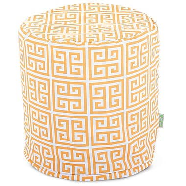 Majestic Home Goods Outdoor Polyester Towers Small Pouf Ottoman, Citrus