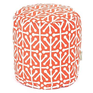 Majestic Home Goods Outdoor Polyester Aruba Small Pouf Ottoman, Orange